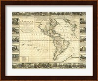 Framed L'Amerique, Lyon, France 1752