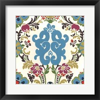 Jewel-tone Damask II Framed Print