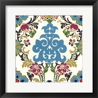 Jewel-tone Damask III Framed Print