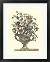 Framed Flowers in an Urn I (Sepia)