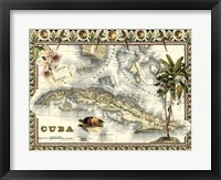 Framed Tropical Map of Cuba