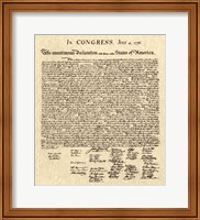 Framed Declaration of Independence Khaki