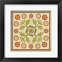 Framed Floral Folk Tile I