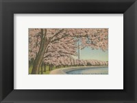 Framed Wash. Monument & Cherry Blossoms
