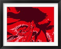 Framed Amaryllis Pistils up close on Red