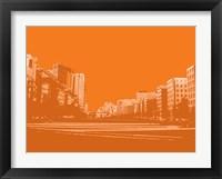 Framed City Block on Orange