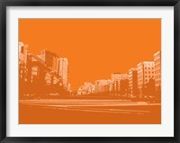 Framed City Block on Orange