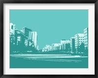 Framed City Block on Blue