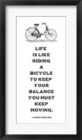 Framed A. Einstein Bicycle Quote