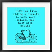 Framed Blue Einstein Bicycle Quote Square