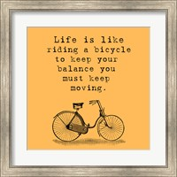 Framed Orange Einstein Bicycle Quote