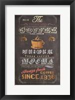 Framed Coffee Menu I