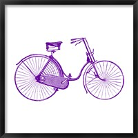 Framed Purple On White Bicycle