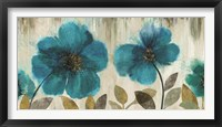 Framed Teal Flowers - Oversize