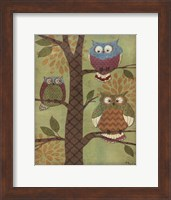 Framed Fantasy Owls Vertical I