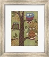 Framed Fantasy Owls Vertical I