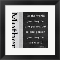 One Person - Mother Framed Print