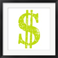 Framed Lime Dollar Sign