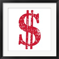 Framed Red Dollar Sign