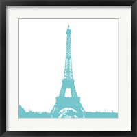 Framed Aqua Eiffel Tower