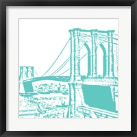 Framed Aqua Brooklyn Bridge