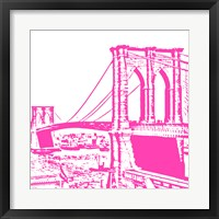 Framed Pink Brooklyn Bridge