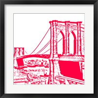 Red Brooklyn Bridge Framed Print