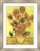 Framed Still Life, Vase With Fifteen Sunflowers