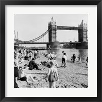 Framed Londoners Relax on Tower Beach, 1952