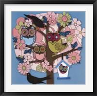 Framed Summer Owl Tree