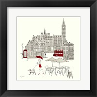 World Cafe I - London Red Framed Print