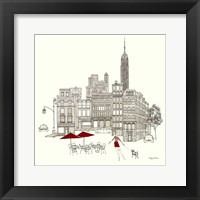 World Cafe III - NYC Red Framed Print