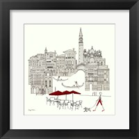 World Cafe IV - Venice Red Framed Print