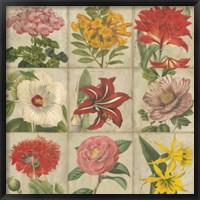 Framed Vintage Flower Grid
