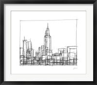 Wire Frame Cityscape II Framed Print