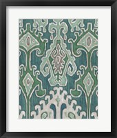 Emerald Ikat II Framed Print