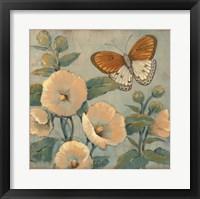 Butterfly & Hollyhocks I Framed Print