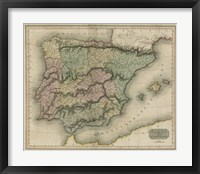 Framed Vintage Map of Spain & Portugal