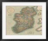 Vintage Map of Ireland Framed Print