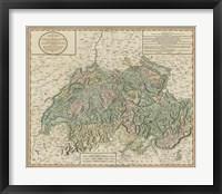 Vintage Map of Switzerland Framed Print