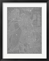Framed City Map of Boston