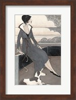 Framed Art Deco Lady With Dog