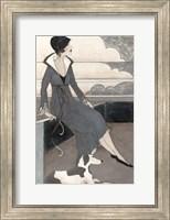 Framed Art Deco Lady With Dog