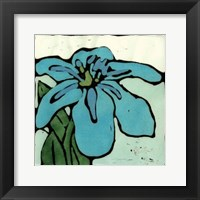 Teal Batik Botanical I Framed Print