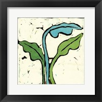 Framed Teal Batik Botanical IV