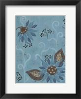 Whimsical Blue Floral I Framed Print