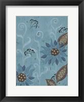 Whimsical Blue Floral II Framed Print