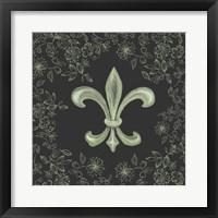 Framed Fleur de Lis - Black