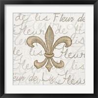 Framed Fleur de Lis - White