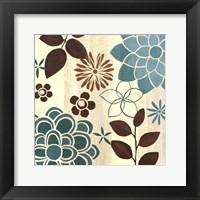 Framed Abstract Garden Blue II